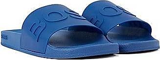 BOSS In Italien gefertigte Slides mit Logo-Riemen und konturiertem Fußbett