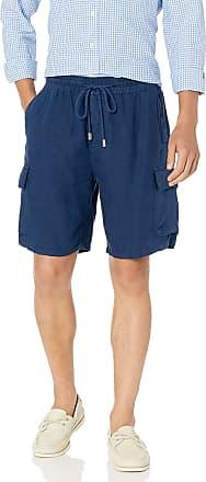 Vilebrequin Mens Solid Linen Bermuda-XXXL Shorts, Navy, 3X-Large