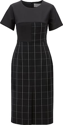 BOSS Shift dress in checked fabric with solid-color sleeves
