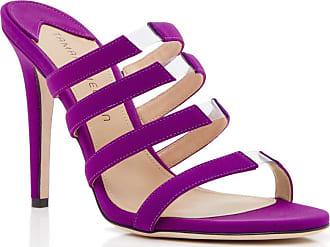 Tamara Mellon Slash Magenta Fabric Sandals, Size - 35.5