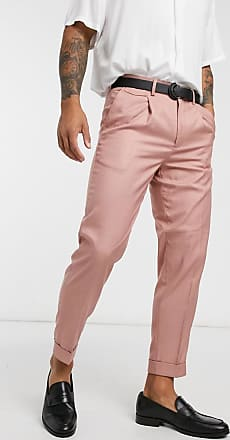 Burton Menswear tapered smart trousers in coral-Orange