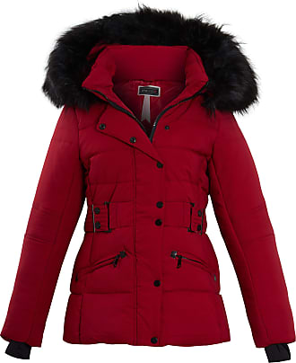 Shelikes Womens Pink Grey Contrast Zip Belt Quilted Padded Long Winter Coat Size (UK 14, Wine (1747))