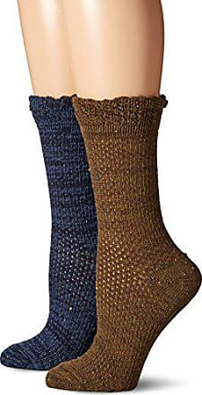 Gold Toe Womens Crochet Donegal Boot Crew 2 Pack, Total Eclipse/Military Olive, 6-9