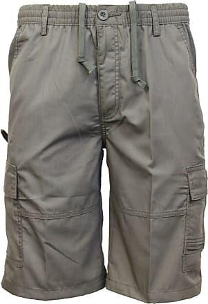 Saute Styles Mens Elasticated Waist Casual Bermuda Combat Cargo Shorts Work Summer Half Pants Size 3XL Grey