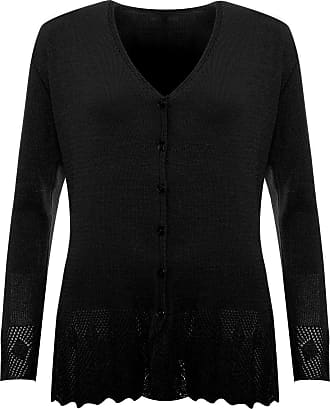 WearAll New Plus Womens Knitted Button Cardigan Ladies Long Sleeve Crochet Top - Black - 22-24(l/XL)