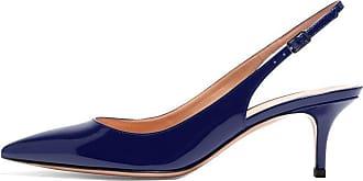 EDEFS Womens Pointed Toe Slingback Court Shoes 6.5cm Kitten Heel Patent Pumps Blue Size EU41