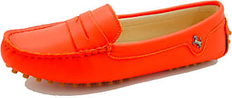 MGM-Joymod Womens Rubber Sole Slip-on Casual Comfortable Orange Red Leather Driving Loafers Flats Outdoor Hiking Slide Boat Shoes 6.5 M UK