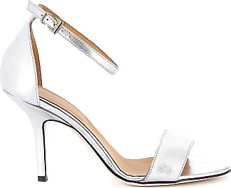 Dondup Mirror Leather Sandals, 38 Silver