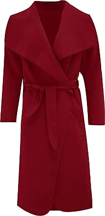 Parsa Fashions Malaika Womens Ladies Waterfall Long Full Sleeves Cape Cardigan Belted Jacket Trench Coat - Available in PLUS SIZES UK 8-20 (Plus Size (18-20), Wine)