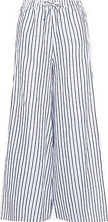 Onia Onia Woman Chloe Striped Linen And Cotton-blend Wide-leg Pants Azure Size S