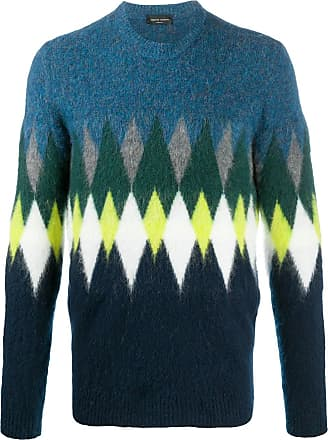 Roberto Collina long sleeve argyle knit jumper - Azul
