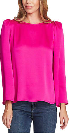 Vince Camuto Womens Pink Long Sleeve Jewel Neck Top Size: L