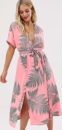Glamorous Vestito midi da giorno allacciato in vita con palme-Rosa