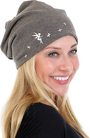3Elfen Ladies Jersey Slouch Beanie HAT with Playing Fairy Print Simple Classic - Grey