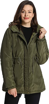 iLoveSIA Womens Waterproof Jacket Faux Fur Lined with Hooded Coat Arm Green UK 12