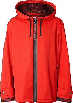 2c2b2f352 Burberry Logo Detail Nylon Cotton Twill Hooded Jacket - Red