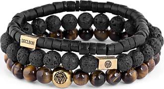 Lucléon Set de bracelets Miro en oeils de tigre, pierres de lave & noix de coco