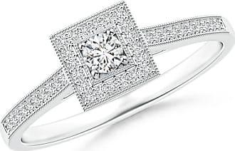 Angara Valentine Day Sale - Milgrain Outlined Diamond Square Halo Engagement Ring