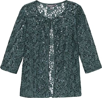 Ulla Popken Womens Plus Size Sequin Accent Lace Jacket Light Petrol Green 36/38 719481 46-62+
