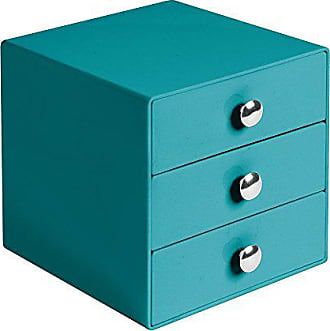 InterDesign Plastic 3-Drawer Jewelry Box, Compact Storage Organization Set for Cosmetics, Dental Supplies, Hair Care, Bathroom, Office, Dorm, Desk, Countertop, 6.5 x 7 x 6.5, Teal Blue