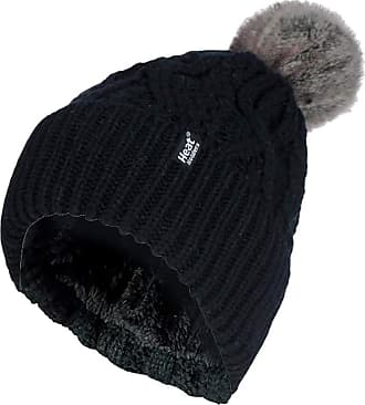 Heat Holders Ladies Chunky Ribbed Cuffed Thermal Winter Pom Pom Bobble Beanie Hat with Fleece Lining (One Size, Black (Solna))