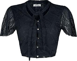 Qed London Lace Button Through Top - Bluse - schwarz