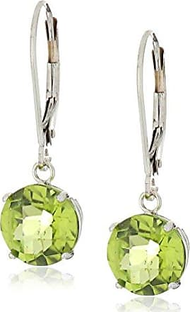 Amazon Collection 10k White Gold Round Checkerboard Cut Peridot Leverback Earrings (8mm)