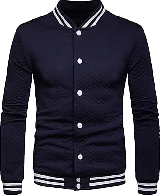 Whatlees Unisex Long Sleeve Solid Slim Fit Button Down Baseball Jersey Jacket Navy 02010079XNavy+XXL