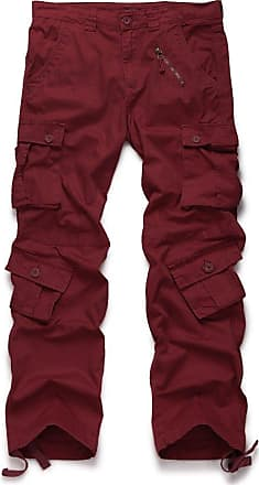 OCHENTA Mens Cotton Casual Military Army Camo Combat Trousers,Wild Cargo Pants with 8 Pockets 3357 Wine Red 34