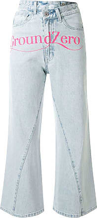 Ground-Zero Calça jeans cropped cintura alta - Azul