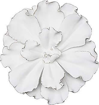 Sagebrook Home 12041 Flower Wall Plaque, White/Gold Polyresin, 20 x 20 x 5.5 Inches