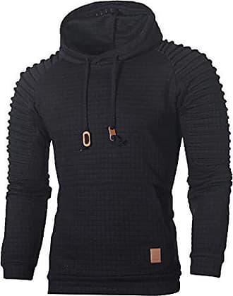 ZYUEER Mens Casual Tops Fashion Autumn Long Sleeve Plaid Hooded Hooded Outwear Sweatshirt (L, Black)