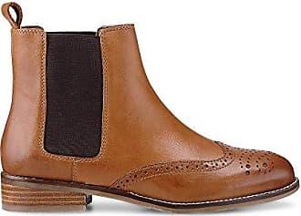46ed24d0dfa6 Cox Damen Damen Chelsea-Boots aus Leder, Stiefeletten in Braun mit  stylischer Lyra-