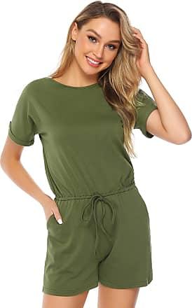 Abollria Playsuits for Women Elegant Short Sleeve Tie Waist Boho Casual Short Romper Jumpsuit Army Green XXL