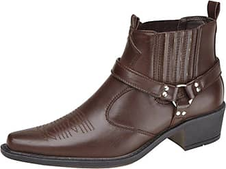 US Brass EASTWOOD Ankle Harness/Gusset Cowboy Boots DARK BROWN PU size 12