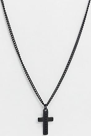 Icon Brand Catenina nera con croce e dettagli a catena-Nero