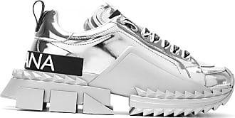 Dolce & Gabbana Tênis de couro metalizado - Prateado