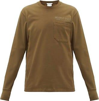 Helmut Lang Logo-print Long-sleeve Cotton T-shirt - Mens - Green