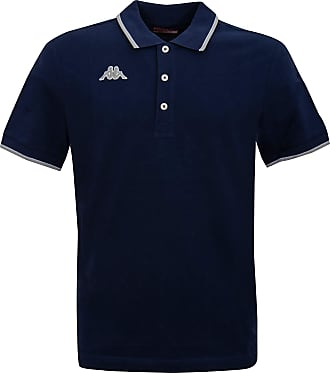 Kappa Mens Polo Shirt with Contrast Stripes on Collar Cuffs 100% Pique Cotton - Blue - Large