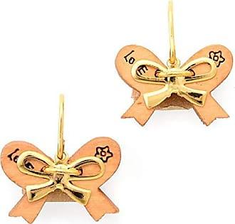 Tinna Jewelry Brinco Dourado Lacinho De Madeira
