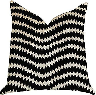 Plutus Brands Jagged Fringe Double Sided King Luxury Throw Pillow 20 x 36 Black/Beige