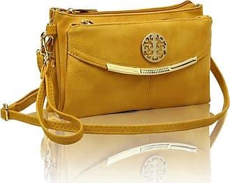 LeahWard Womens Three Zipper Compartment Cross Body Bags 111 (Mustard 111)