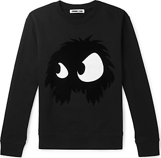 McQ by Alexander McQueen Flocked Printed Loopback Cotton-jersey Sweatshirt - Black