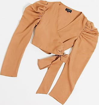 In The Style Wickelbluse in Camel-Bronze