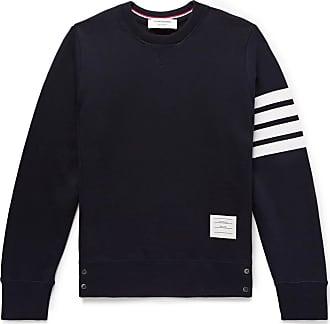 Thom Browne Slim-fit Striped Loopback Cotton-jersey Sweatshirt - Navy