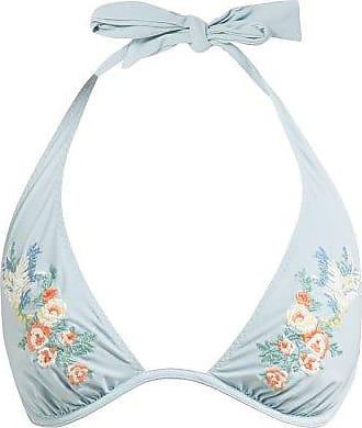 Stella McCartney Stella Mccartney - Floral-embroidered Halterneck Bikini Top - Womens - Light Blue