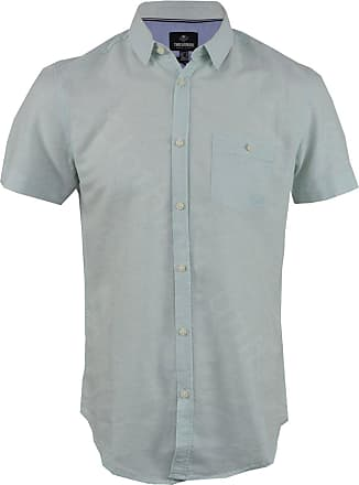 Threadbare Mens Linen Rich Chambray Short Sleeved Shirt Casual Summer (L, Turquoise)