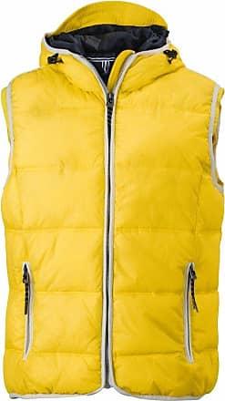 James & Nicholson Mens JN1076 Maritime Padded Gilet Vest Sun-Yellow/White XXL
