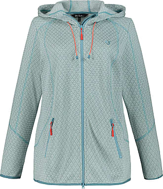 Ulla Popken Womens Plus Size Diamond Texture Sweater Fleece Jacket Aqua 32/34 747850 46-58+