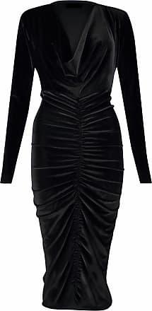 Momo & Ayat Fashions Ladies Ladies Celebrity Style Velvet Plunged V-Neck Ruched Front Bodycon Dress UK Size 8-26 (Black, L/XL (UK 16-18))
